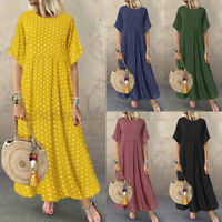 US STOCK Women Short Sleeve Long Shirt Dress Kaftan Polka Dot Maxi Sundress Plus