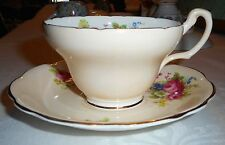 VINTAGE E.B. FOLEY BONE CHINA TAN FLOWERED TEACUP & SAUCER GOLD GILT FAST SH!