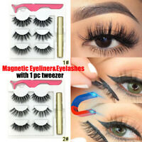 HOT SKONHED Magnetic Eyeliner with 3Pairs Eyelashes With Tweezer Eye Makeup Kit
