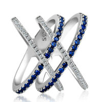 Luxury 925 Silver Wedding Rings For Women Blue Sapphire Wedding Ring Size 6-10