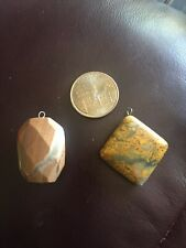 Two Unique Brown Stone Pendants Jewelry Making Crafts