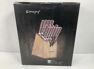 Emojoy, KC-KS16, Kitchen Knife Set w/ Block,15pcs (Missing 1 Steak Knife)