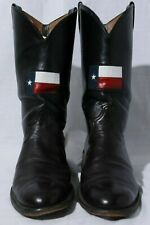 """Caboots 12846 Men's 13"""" Tall Black Leather Texas Flag Western Cowboy Boots 9.5EE"""