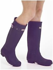 WOMENS LADIES FLAT FESTIVAL WELLIES WELLINGTON RAIN BOOTS SIZE 6 UK - PURPLE