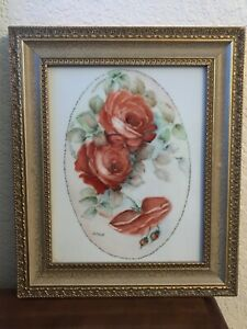ORIGINAL PAINTING PINK ROSES ON PORCELAIN  BEAUTIFUL FRAME ARTIST SIGNED
