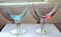 Set/2 BLOCK Crystal Pink & Blue Water/Wine Stemmed Goblets w/Original Labels~NEW