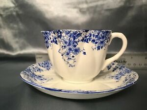 """""""Dainty Blue"""" Shelley Fine Bone China from England, cup and saucer"""