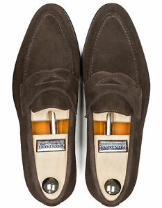 Bontoni Penny Loafers With Wraparound Seam IN Dark Brown Made of Suede