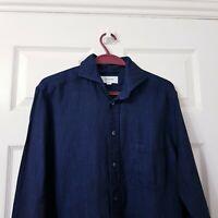 "ETON Men's Slim Fit Shirt Sz L 38 15"" Navy Textured Cotton Linen Mix Long Sleeve"