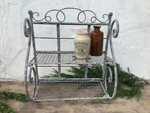 Freestanding Metal Shelves Two Tier Wire Mesh Vintage Style