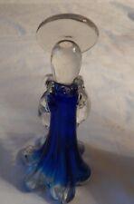 "Angel Figurine Cobalt Blue & Clear Blown Glass 8.5"", 3.5"" Wide Base of skirt"