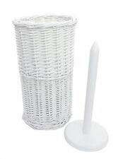 Wicker Corner Laundry Basket With Lid Linning Bathroom Storage White Toilet  Roll Holder