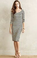 Anthropologie Dress Stretch tan black nude olive Striped S NEW $148