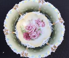 "SIGNED RS PRUSSIA 10.5"" BOWL WITH PINK ROSES DECORATION ""GOLD ENHANCEMENTS"""