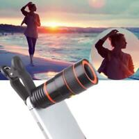 Black 8x Zoom Adjust Magnifier Camera Lens For Mobile Phone Telescope Clip-On FT