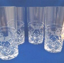 Set of 4 GALWAY Irish Crystal CLADDAGH RING Etched Hands Highball Glasses NEW