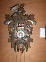 German SEE VIDEO musical Black Forest  NIGHT SHUT OFF  1 Day Cuckoo Clock CK2194