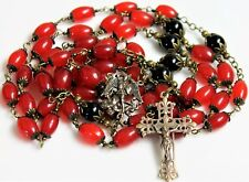 """ST. MICHAEL CARNELIAN RED, BLACK ONYX AGATE, ANTIQUE BRONZE ROSARY XLG 36"""""""