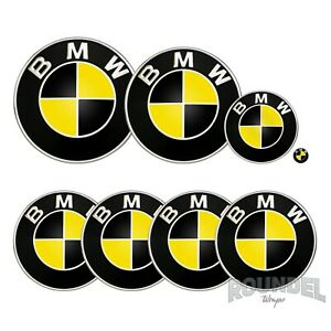 For BMW Badges - Gloss Black & Yellow - All Models Decals Wrap Stickers Overlays