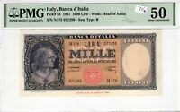 Italy 1947 1000 Lire PMG Certified Banknote AU 50 Pick 83 Seal Type B