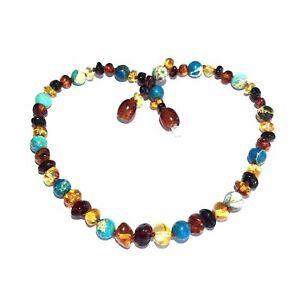 Child Autumn Rain Jasper and Rainbow Mixed Baltic Amber Necklace Love Amber x