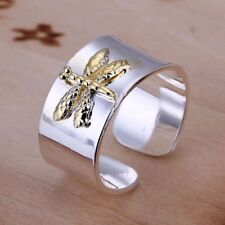 925 STERLING SILVER PLATED YELLOW DRAGON FLY RING THUMB FINGER RING FOR WOMEN