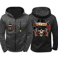 Guns N' Roses Print Hoodie Top High Quality Jacket Sweatshirt Zip Up Sporty Coat