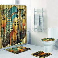 US Bath Mat Pedestal Rug Lid Toilet Cover Shower Curtain Bathroom Home Decor