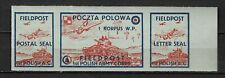 POLISH ARMY IN GB STAMPS-Polish Army Field Post letter seal,WWII, MNH ** on blue