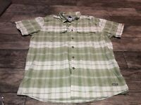 The North Face Vented Button Down Short Sleeve Green Plaid Shirt Mens XL Vapor