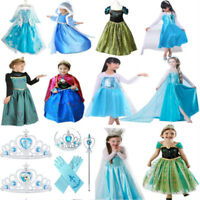 Lots Girls Princess Dress Elsa Anna Frozen Tiara Crown Wand Gloves Party Costume