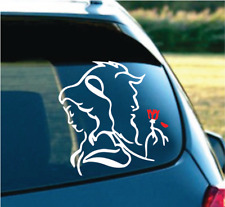"Beauty and The Beast outline White/Red 6"" Decal Sticker for laptop, wall MAC"