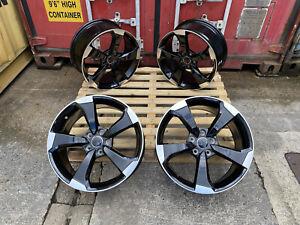 """Alloy Wheels 18"""" RS3 LG2 For Vw Arteon Beetle Caddy Cc Eos Golf 5x112 Black POL"""
