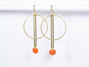Ohrringe KREIS+STAB+ORANGE goldene Messingohrringe geometrisch Emaille orange
