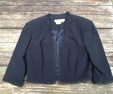Maggy London Ladies Cropped Black Jacket 3/4 Sleeve Dressy Ruffle Trim Size 6