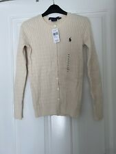 BNWT Ralph Lauren POLO Women's Cardigan Button Front Beige X Small