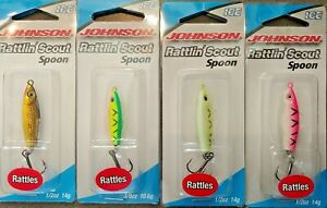 4pc Lot - Johnson Rattlin Scout Jigging Spoons 1/2oz and 3/8oz for ice walleye