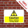 Caution heavy vehicles turning ahead sign CONS073 Site notices and safety signs