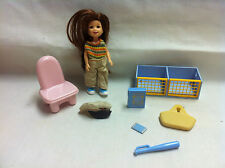Doll with toy bin & chair