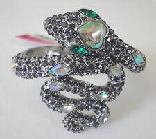 Betsey Johnson Iconic Amethyst Crystal Pave Snake Bangle Bracelet NWT