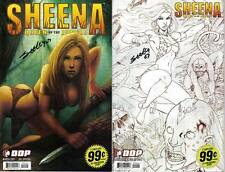 signed set (2) SHEENA queen of the jungle BOTH SKETCH REG #0 TIM SEELY DYNAMITE