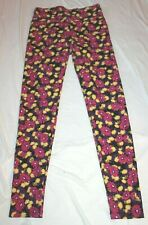 LuLaRoe Women's Leggings Purple Yellow Pink Floral Buttery Soft One Size OS