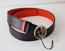 a6e930c49d7 Gucci 450000 Belt Leather Unisex Size 90 Black Orange
