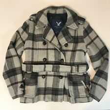 American Eagle Womens Pea Coat SZ Medium Plaid Belted Button Down Lined