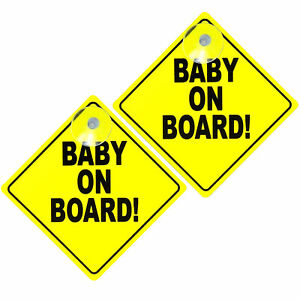 2pk Baby on Board Car Signs | Suction Cup Baby Passenger Car Safety Warning