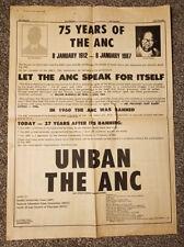 More details for nelson mandela original newspaper poster unban anc 75 anniversary 1987 rare