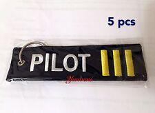 5 pcs PILOT 3 Bar Canvas Luggage Tag Label Key Chain/Remove Before Flight