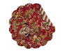 JOCELYN RED Quilted Reversible Round Placemat - Red, Green, Gold, Beige by C&F