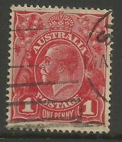 AUSTRALIA KGV KING GEORGE V One Penny Red 1d Single Watermark Used (No 106)
