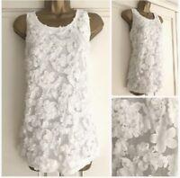 New Womens Ivory Floral Applique Detail Vest Top Size Summer 8-24 Plus Ex TU